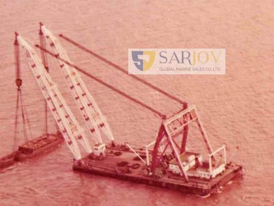 2 X 750 Ton Non Propelled Twin Booms Floating Crane for Sale